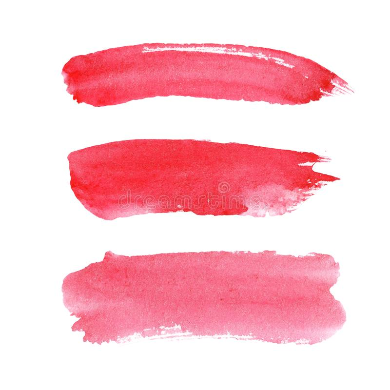 Watercolor illustration set of pink red coral brush strokes. For design, space for text stock image