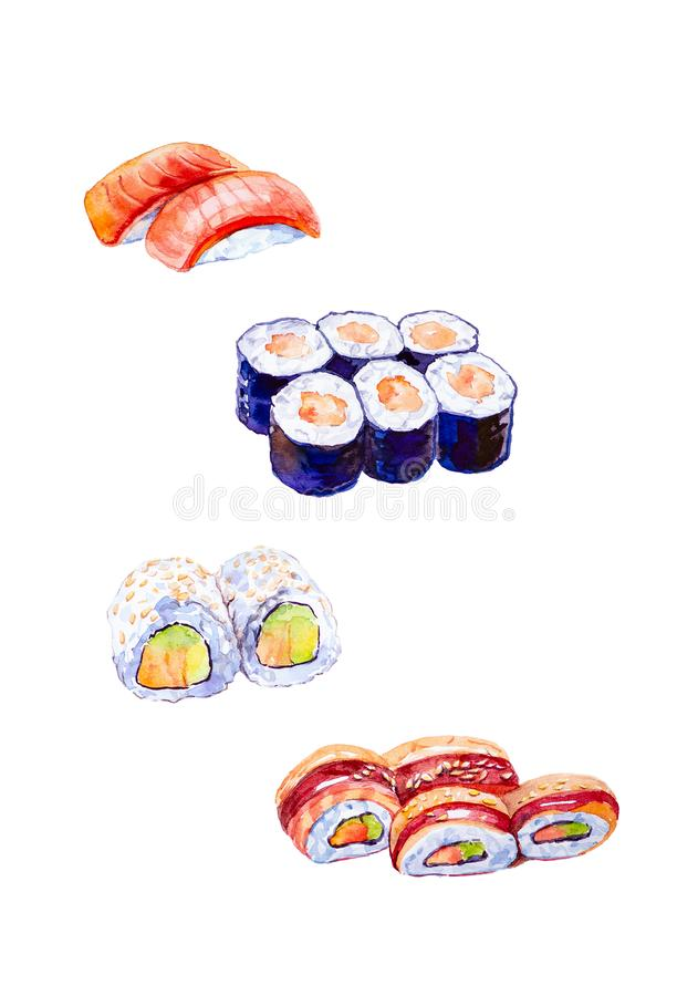 Watercolor illustration of a set of sushi and rolls. Isolated on white background stock illustration