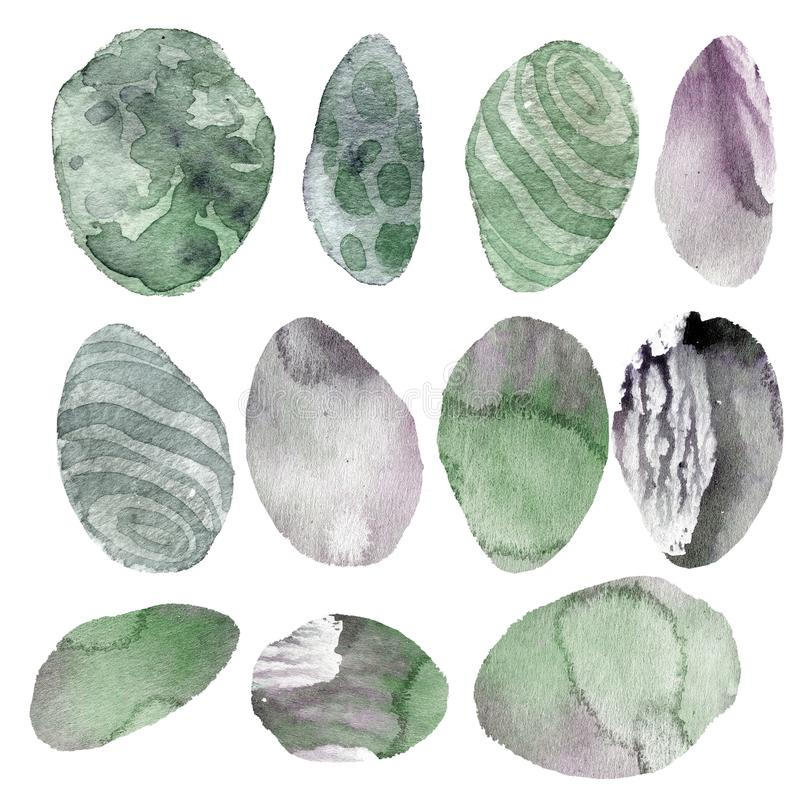 Watercolor illustration. Set of transparent stones of tender green and gray shades royalty free illustration