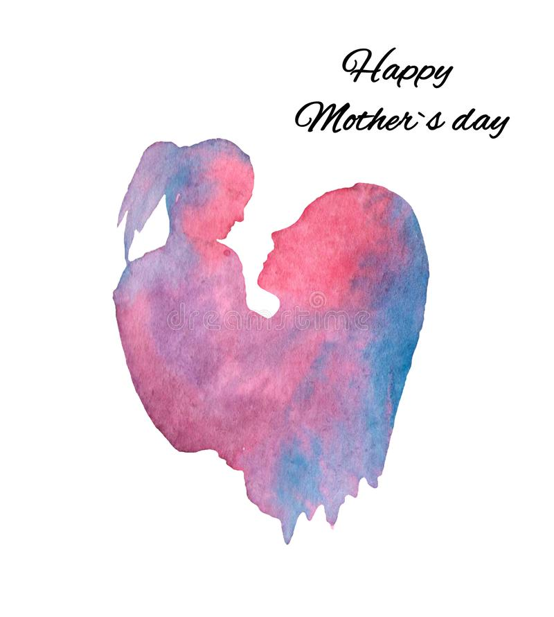 Watercolor illustration, silhouette of mother and daughter, mothers day postcard royalty free illustration