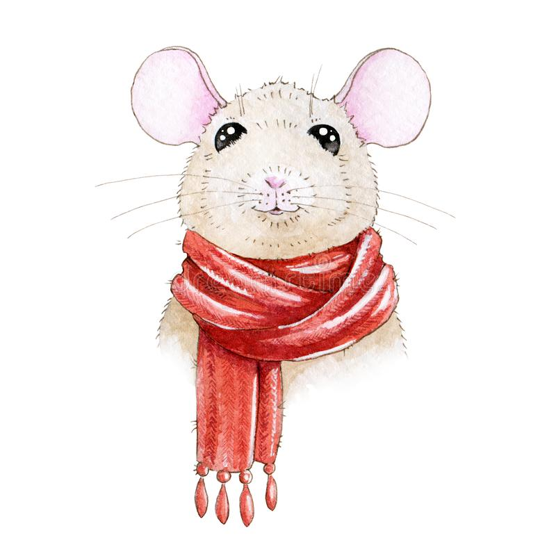 Watercolor illustration of a small cute cartoon mouse in cozy Christmas red scarf. Little rat a symbol of  Chinese new 2020 year vector illustration