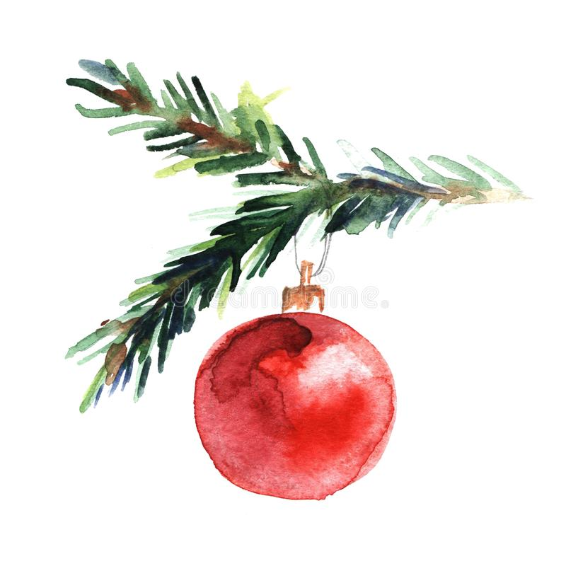 Watercolor illustration of spruce twig with red New Year`s ball on white background. Christmas and New Year hand painted stock illustration