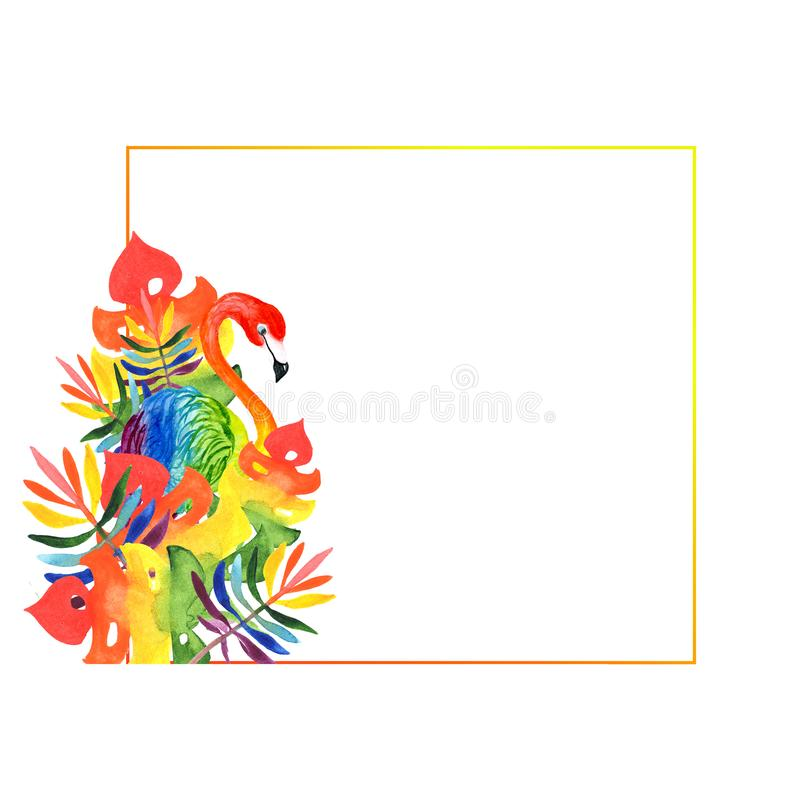 Watercolor illustration of a square orange-red frame with flamingos and rainbow-colored tropical leaves royalty free stock photos