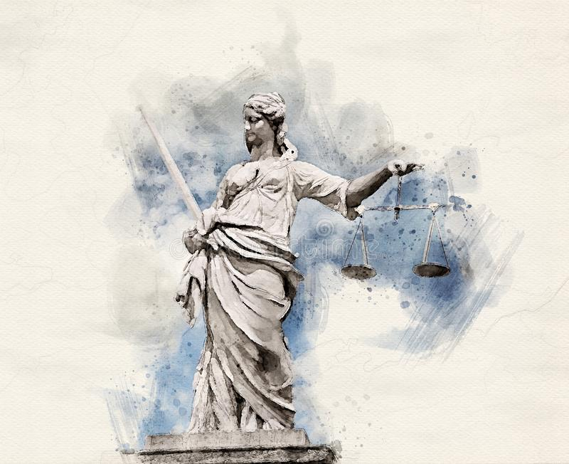 Watercolor Lady Justice vector illustration