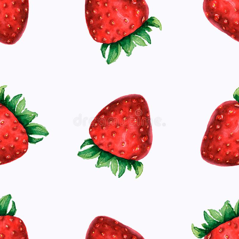 Watercolor illustration of strawberry . Seamless pattern Seamless pattern with watercolor hand drawn cute strawberries on white royalty free stock photography