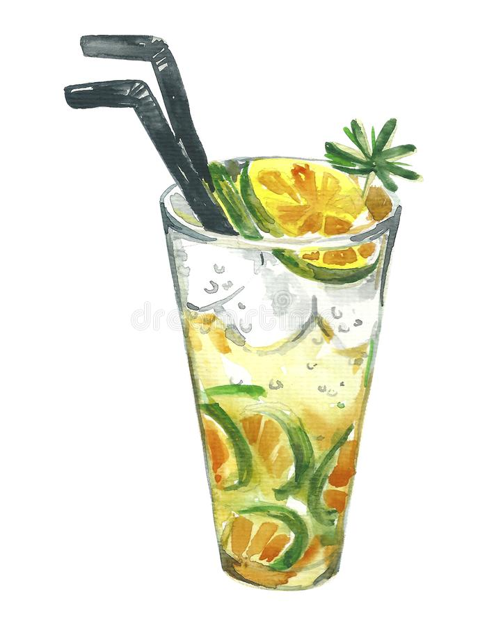 Watercolor illustration of summer cocktail mojito on a white background. Mojito with a lime and mint leaves. Inside the glass stock illustration