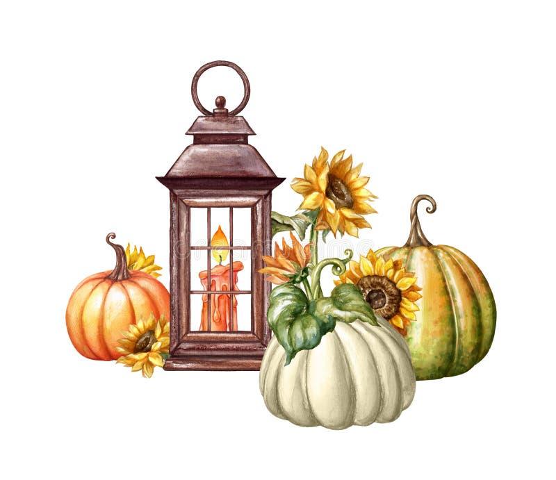 Watercolor illustration, Thanksgiving, flowers, rustic lantern, autumn pumpkin harvest, fall, Halloween, isolated holiday clip art royalty free illustration