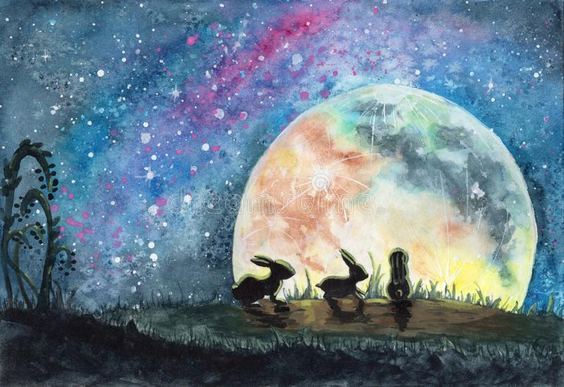 Watercolor illustration of three rabbits or hares in a field with grass, looking on a huge colorful moon and bright starry sky royalty free stock image