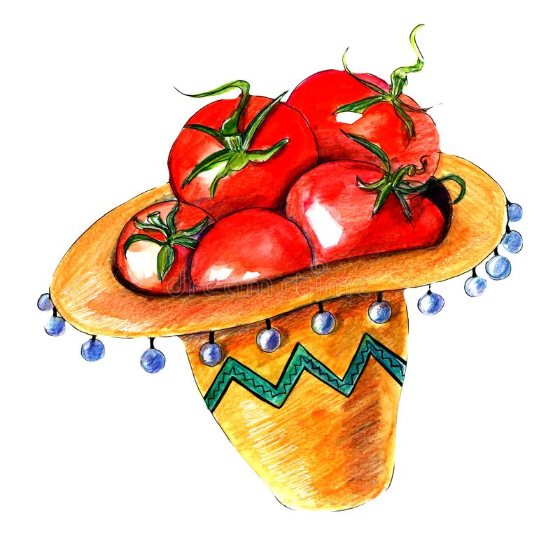 Fresh tomatoes in Mexican sombrero hat stock photo