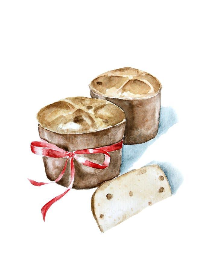 Watercolor illustration traditional italian bakery royalty free stock image