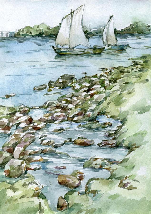 Sailing boats on the river watercolor illustration vector illustration