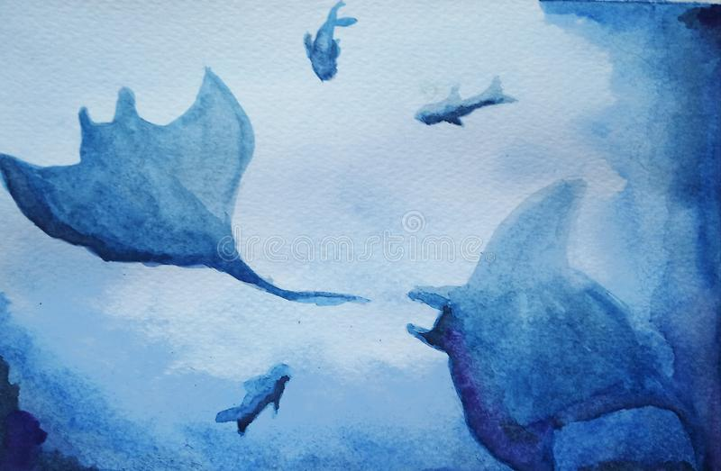 Watercolor illustration of two sea ramp and three ocean fish in blue colors royalty free illustration