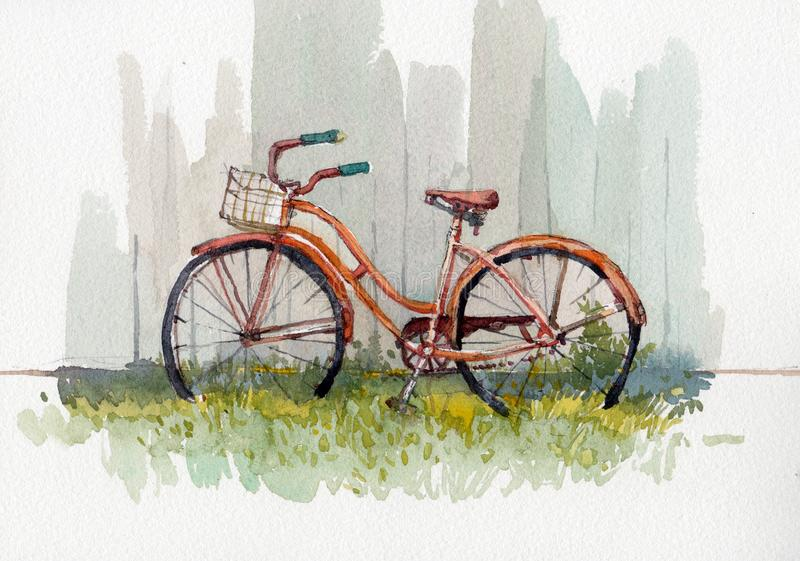 Watercolor illustration of vintage bicycle royalty free illustration