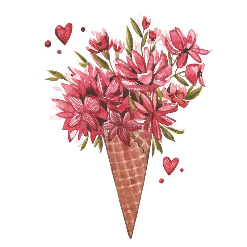 Watercolor illustration of a wafer cone flowers, summer print, ice cream cone. Watercolor Pink set of elements for. Valentine`s day. Scrapbook design elements royalty free illustration