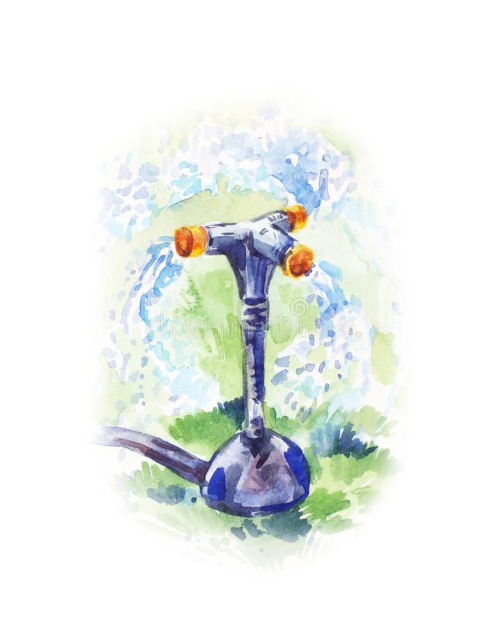 Watercolor illustration of watering process with garden sprayer. Summer mood, sunny drawing stock illustration