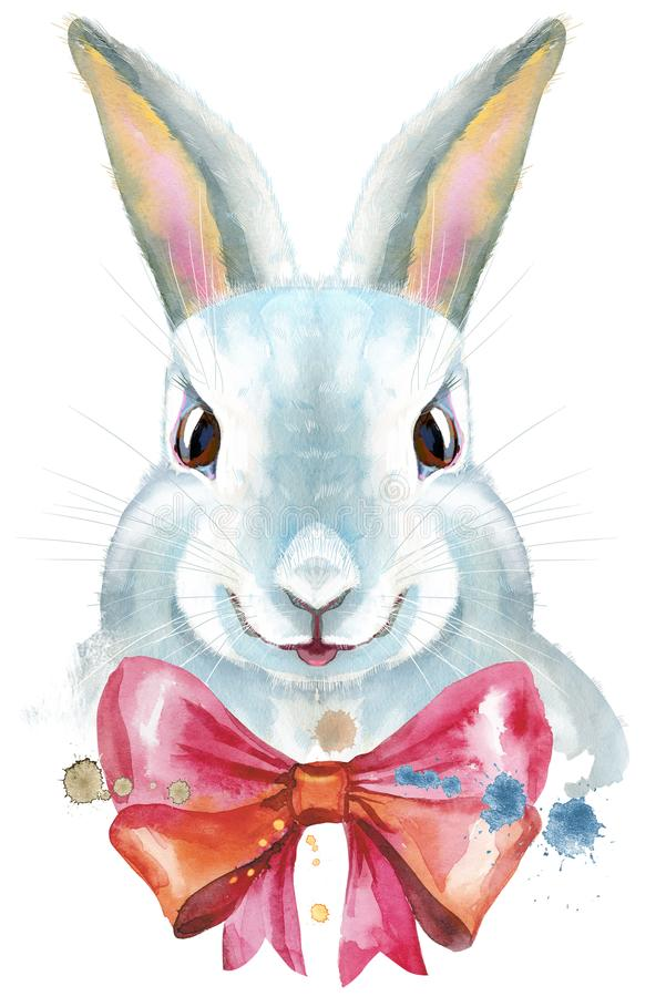Watercolor illustration of a white rabbit with pink bow vector illustration