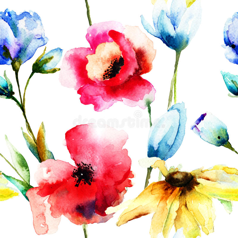 Watercolor illustration of wild flowers