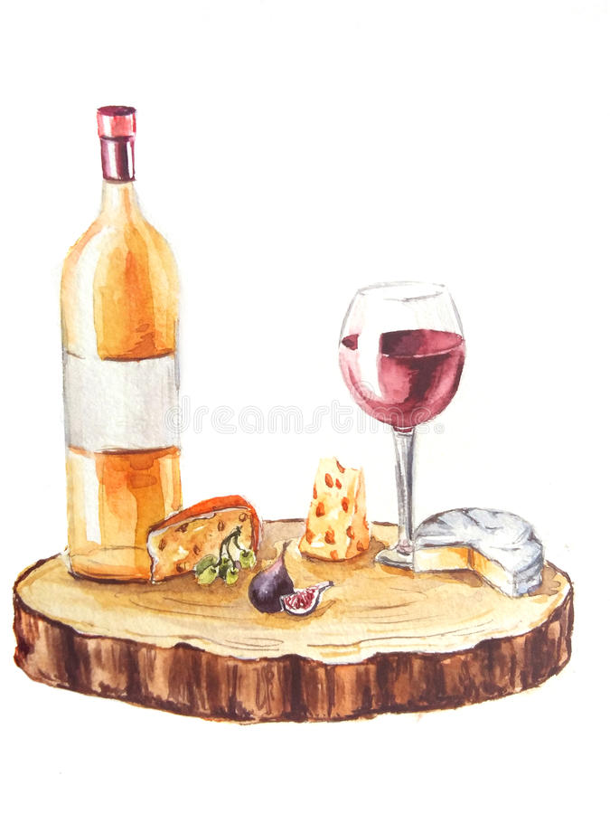 Watercolor illustration Wine and cheese vector illustration