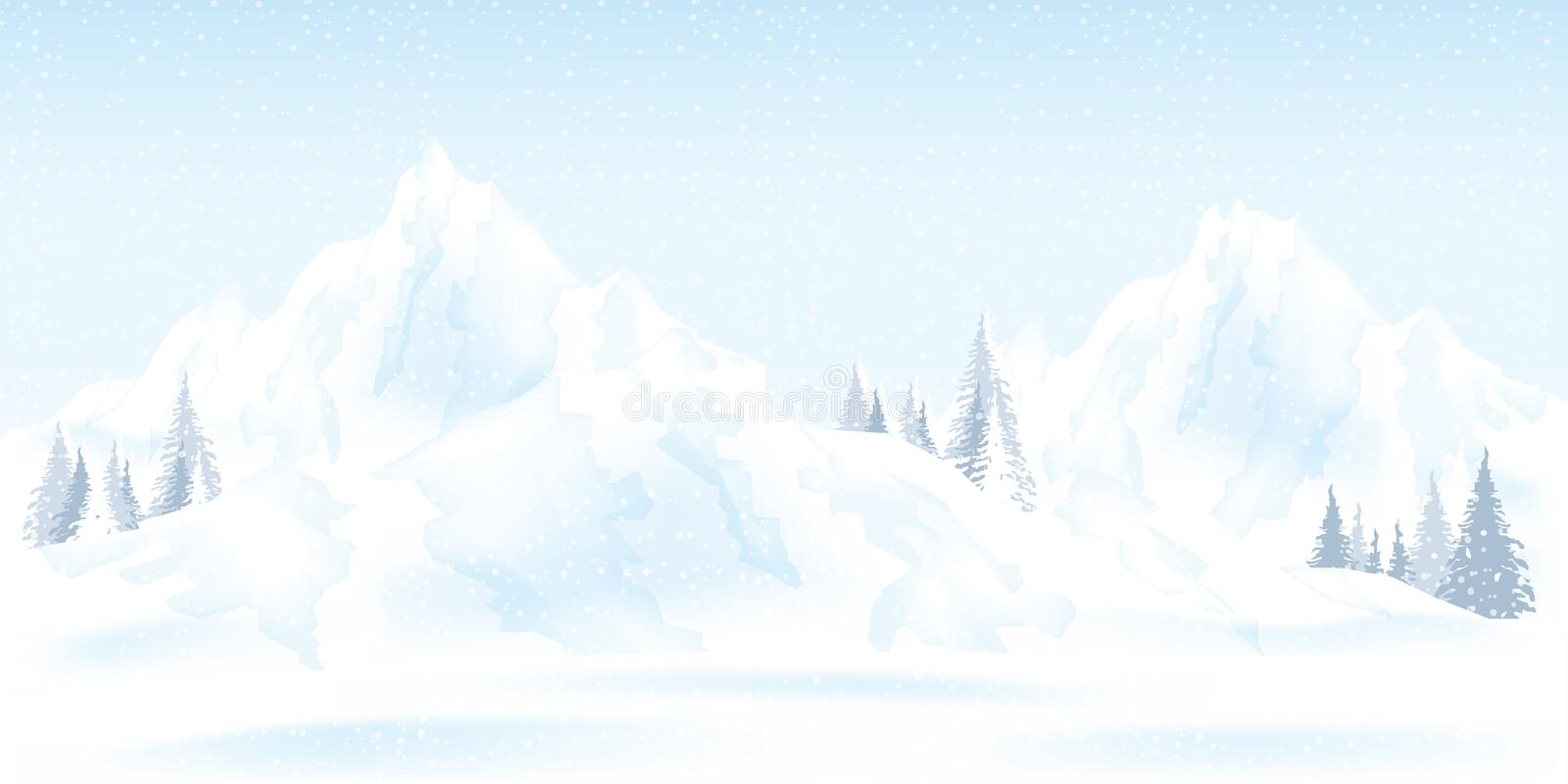 Watercolor illustration of winter mountains landscape with pines. And hills, vector illustration stock illustration