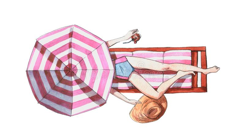 Watercolor illustration of a woman on a beach lying on a sunbed under umbrella holding hat and tropical. Cocktail stock illustration