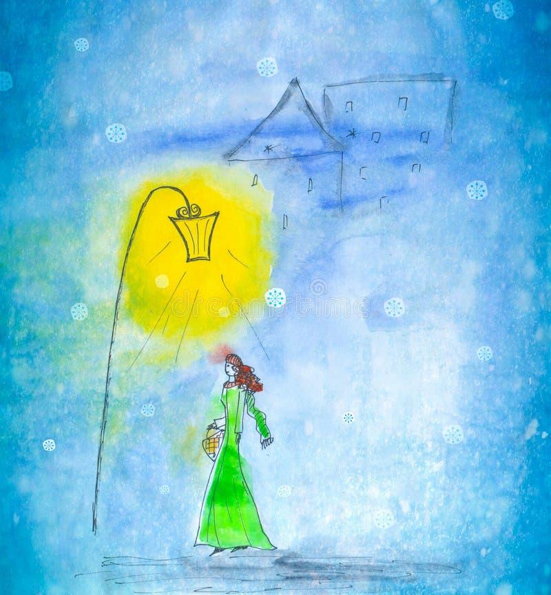 Watercolor illustration of a woman walking in winter city under street lantern on snowfall background. stock illustration