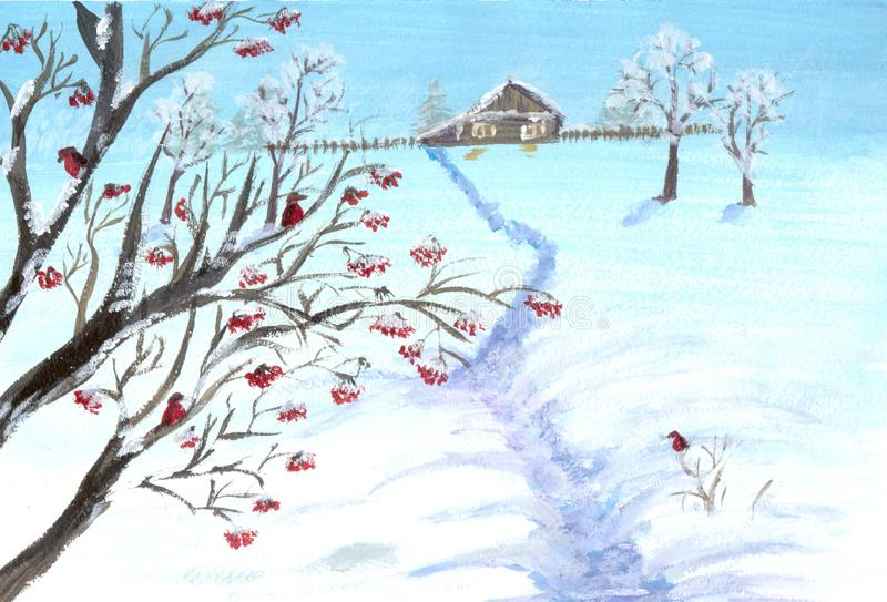 Watercolor illustration with a wooden house and a fence on the background of snowy winter and rowan tree royalty free illustration