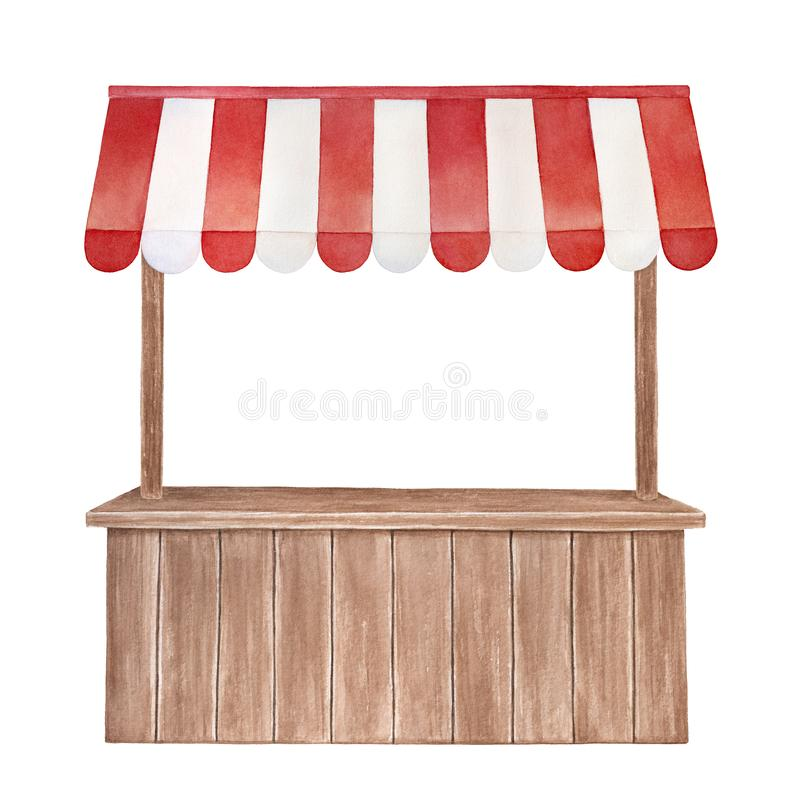 Watercolor illustration of wooden stall with red and white striped canopy, front view. Cute outdoor store symbol. Handdrawn water color graphic drawing, cutout stock illustration
