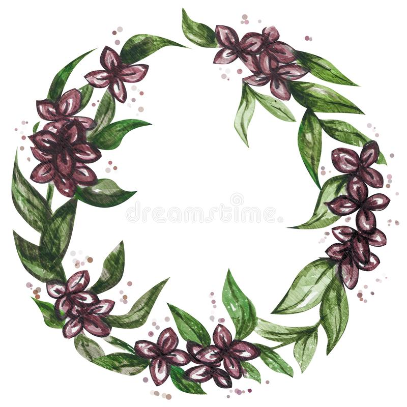 Watercolor illustration wreath of flowers stock images