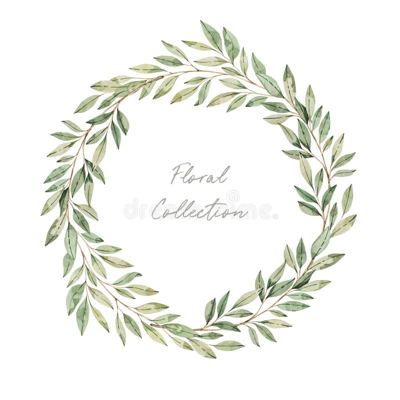 Watercolor illustrations. Botanical clipart. Wreath of green leaves and branches. Floral Design elements. Greenery frame. Perfect. For wedding invitations stock photo