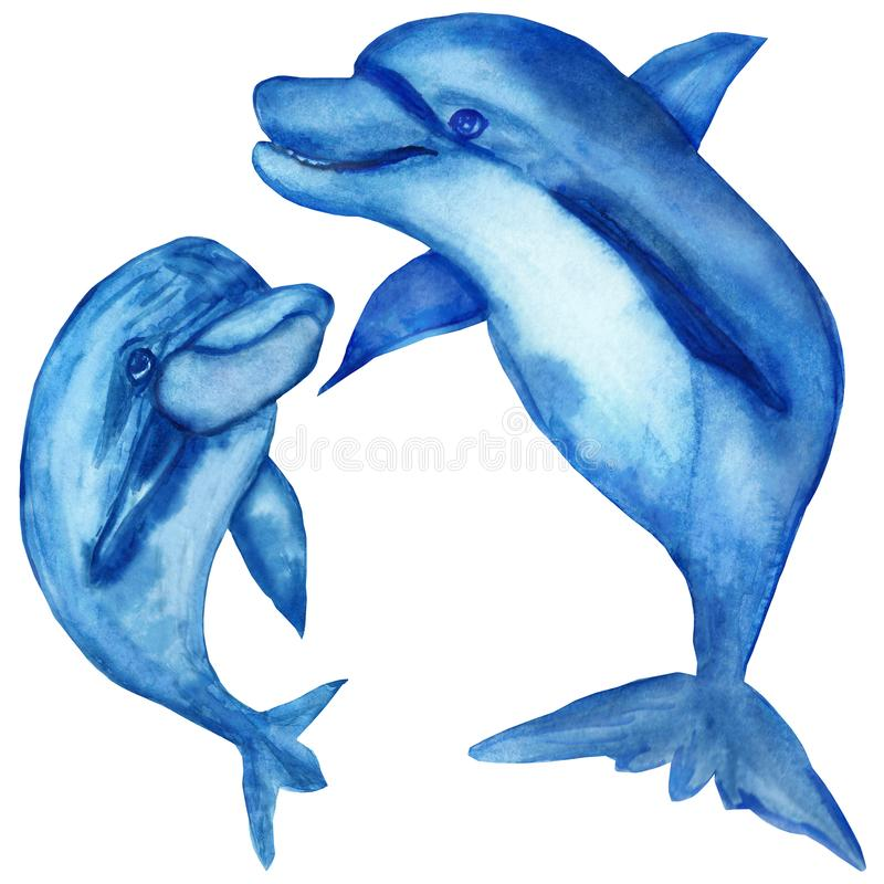 Watercolor illustrations, funny blue dolphins, mom and baby isolated on white background. royalty free stock photography