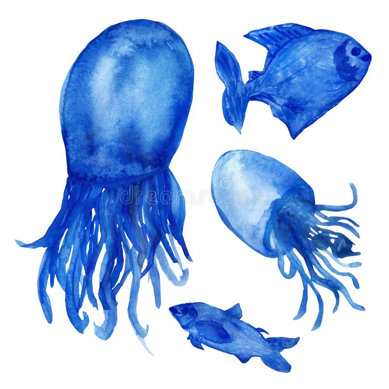 Watercolor illustrations, funny blue fish and jellyfish with tails isolated on white background. stock image