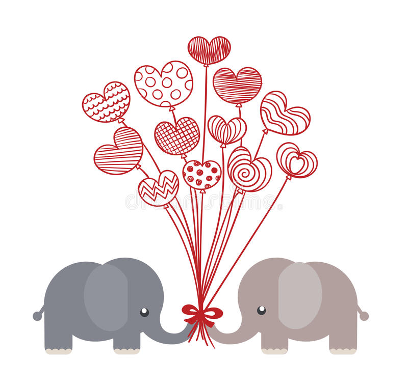 valentine elephants royalty free stock photo
