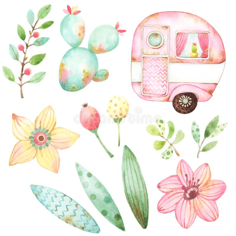Ready to use children illustration style set of watercolor graphics including one retro caravans, three leaves, yellow flower, red vector illustration