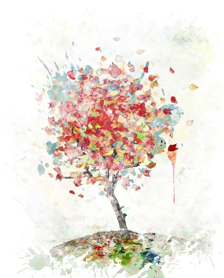 Watercolor Image Of Autumn Tree stock illustration