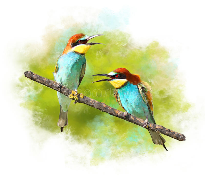 Watercolor Image of birds Bee-eaters. Painted Watercolor Image of birds Bee-eaters stock illustration