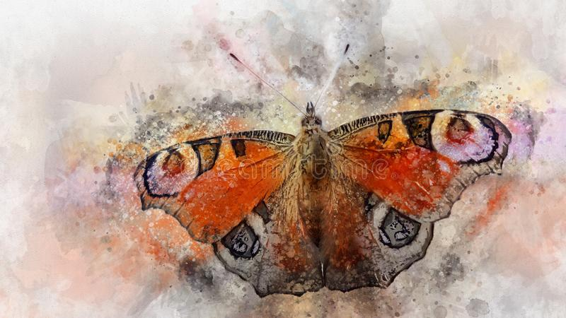 Watercolor image of a butterfly on a vintage background. Butterfly close-up. Handmade illustration. Animal world of insects vector illustration