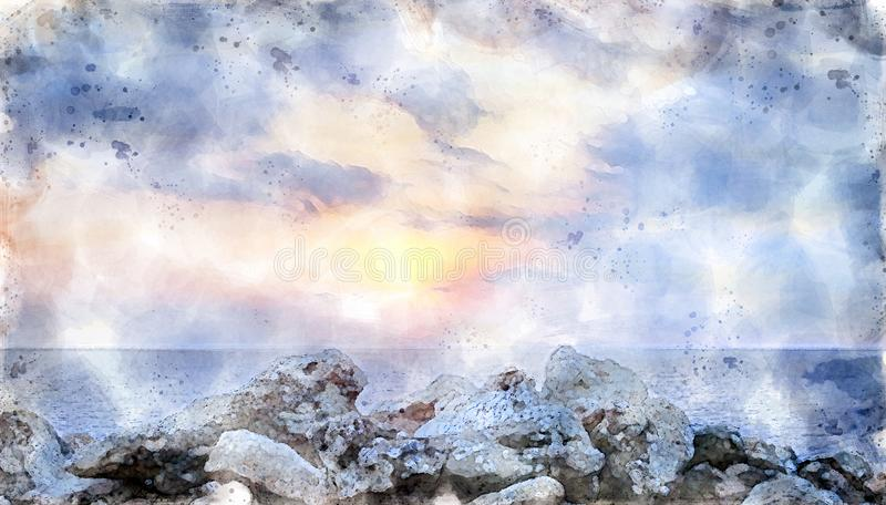Watercolor image of a glowing golden sunset surrounded by illuminated clouds over a calm Mediterranean sea with a foreground of stock illustration