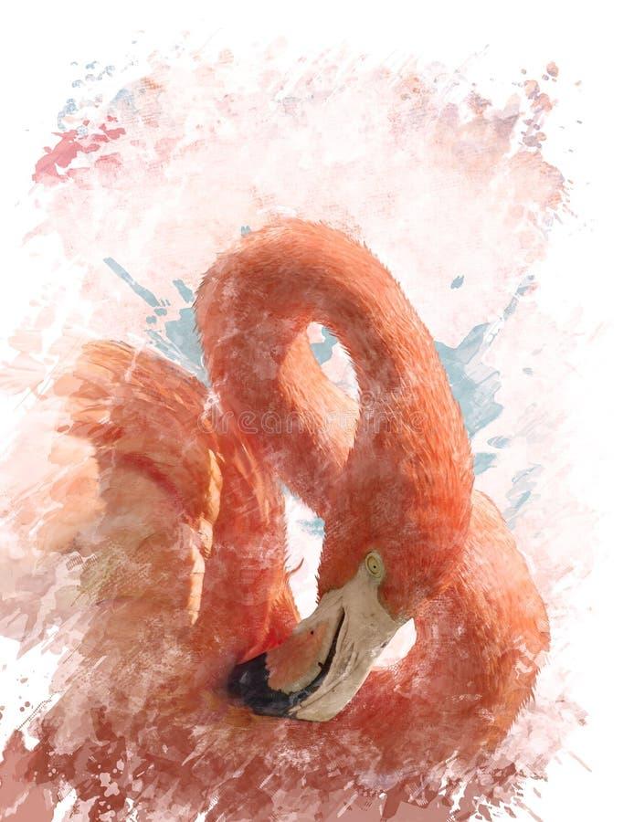 Free Watercolor Image Of Flamingo Bird Stock Photos - 44073273