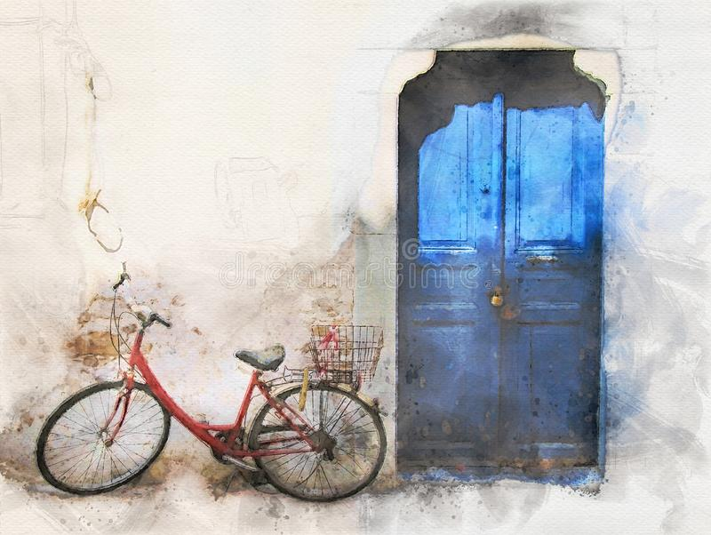 Watercolor image of an old red bike outside a greek house with whitewashed walls and a blue painted door in bright sunlight. A watercolor image of an old red royalty free illustration