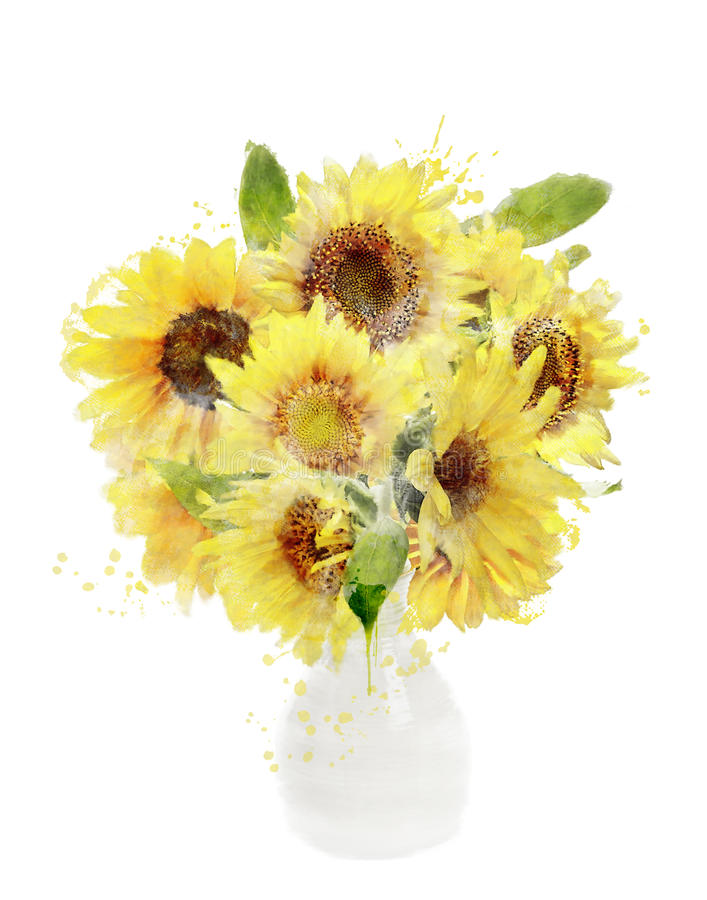 Watercolor Image Of Sunflowers Bouquet vector illustration