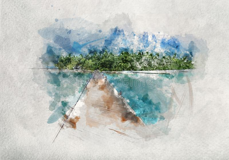 Watercolor painting of wooden jetty in Maldives stock illustration