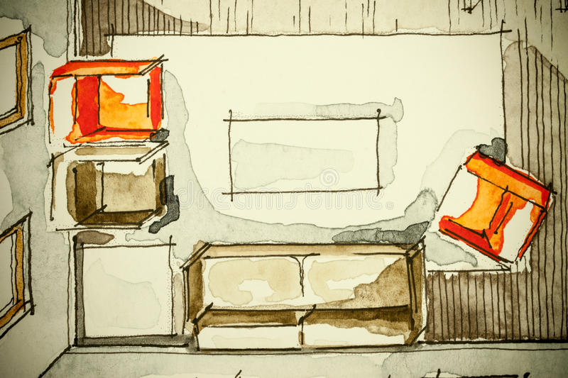 Watercolor ink freehand sketch drawing of partial house floor plan as aquarell painting showing living room with red armchairs. Watercolor ink freehand sketch stock illustration