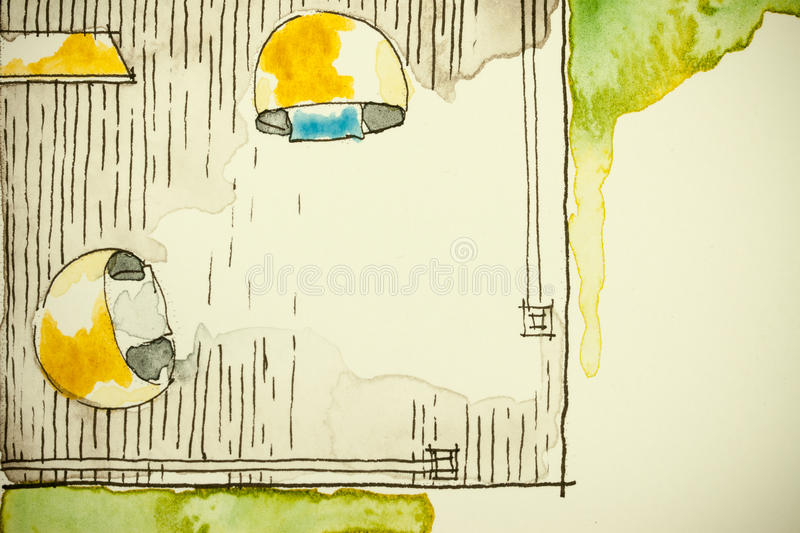 Watercolor ink freehand sketch drawing of partial house floor plan as aquarell painting showing verandah space corner. Symbolizing artistic custom unique royalty free illustration