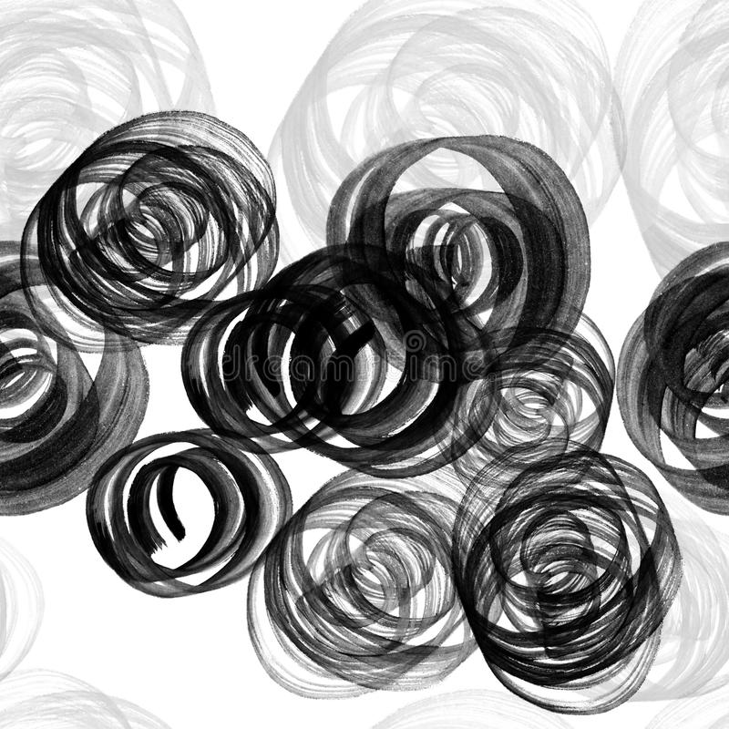 Watercolor, ink or gouache splashes and knots. Seamless pattern with swirls. Paint black grunge spots. royalty free illustration