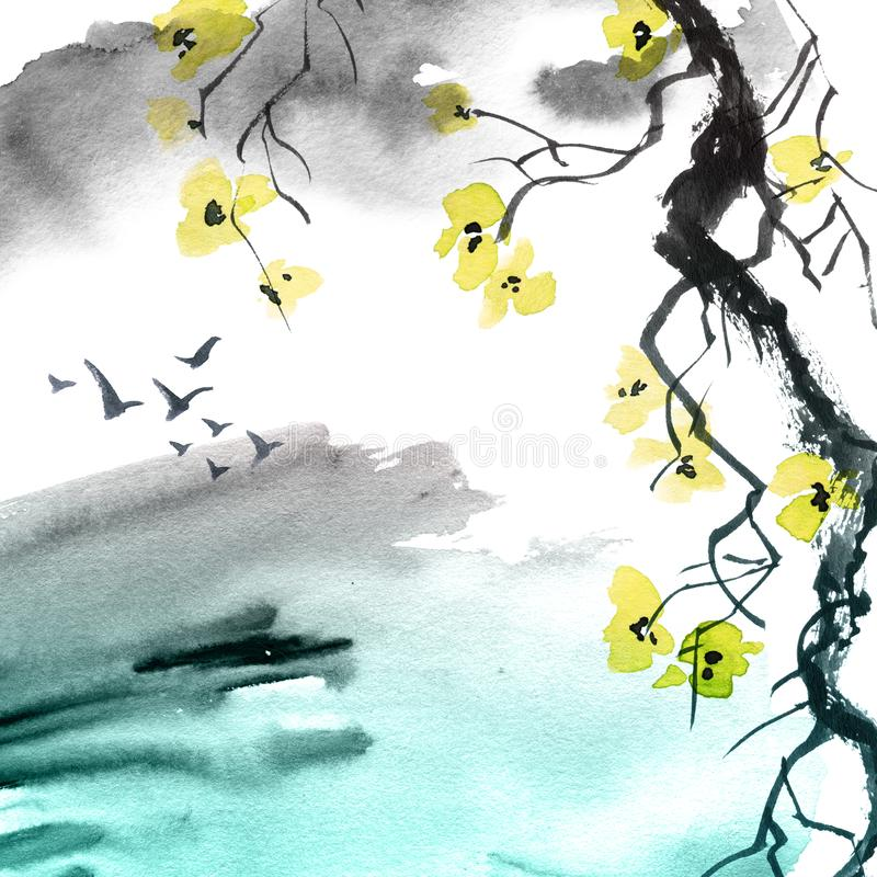 Watercolor painted blossom tree brunch. Watercolor and ink illustration blossom tree branch with flowers and abstract watercolor background with birds. Art in vector illustration