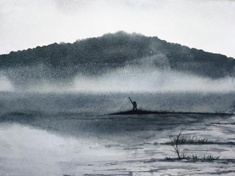 Watercolor ink landscape the man fishing stock illustration