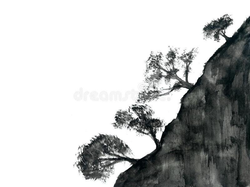 Watercolor ink landscape tree chinese mountain fog . Traditional oriental. asia art style.isolated on a white background stock illustration