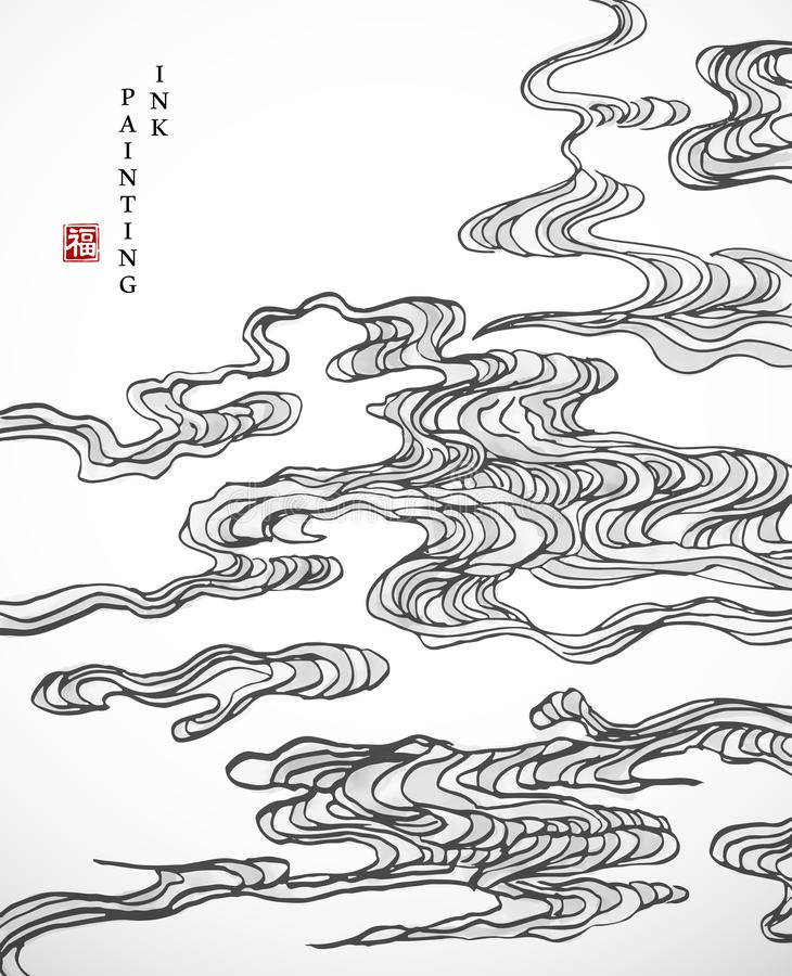 Watercolor ink paint art vector texture illustration oriental spiral curve cloud background. Translation for the Chinese word : royalty free illustration