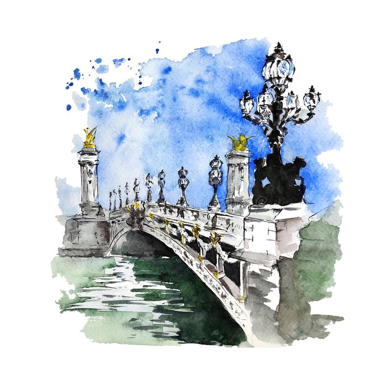 Watercolor and ink sketch of The Pont Alexandre III, Paris, France. Pont Alexandre III, Paris, France. Watercolor and ink sketch on white background. Hand vector illustration