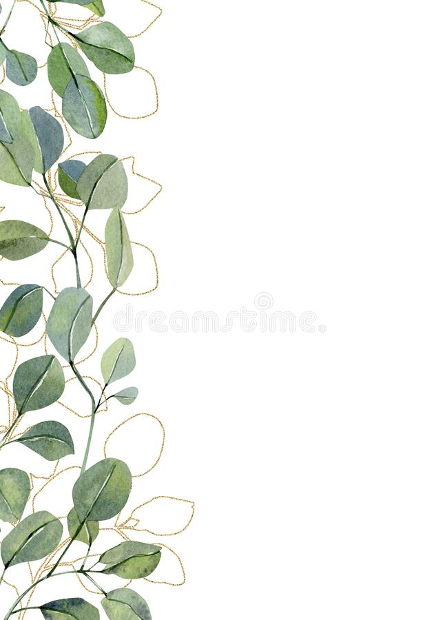 Free Watercolor Inspiration Card With Hand Painted Eucalyptus. Green Branches And Leaves Isolated On White Background. Floral Illustra Stock Photography - 170074042